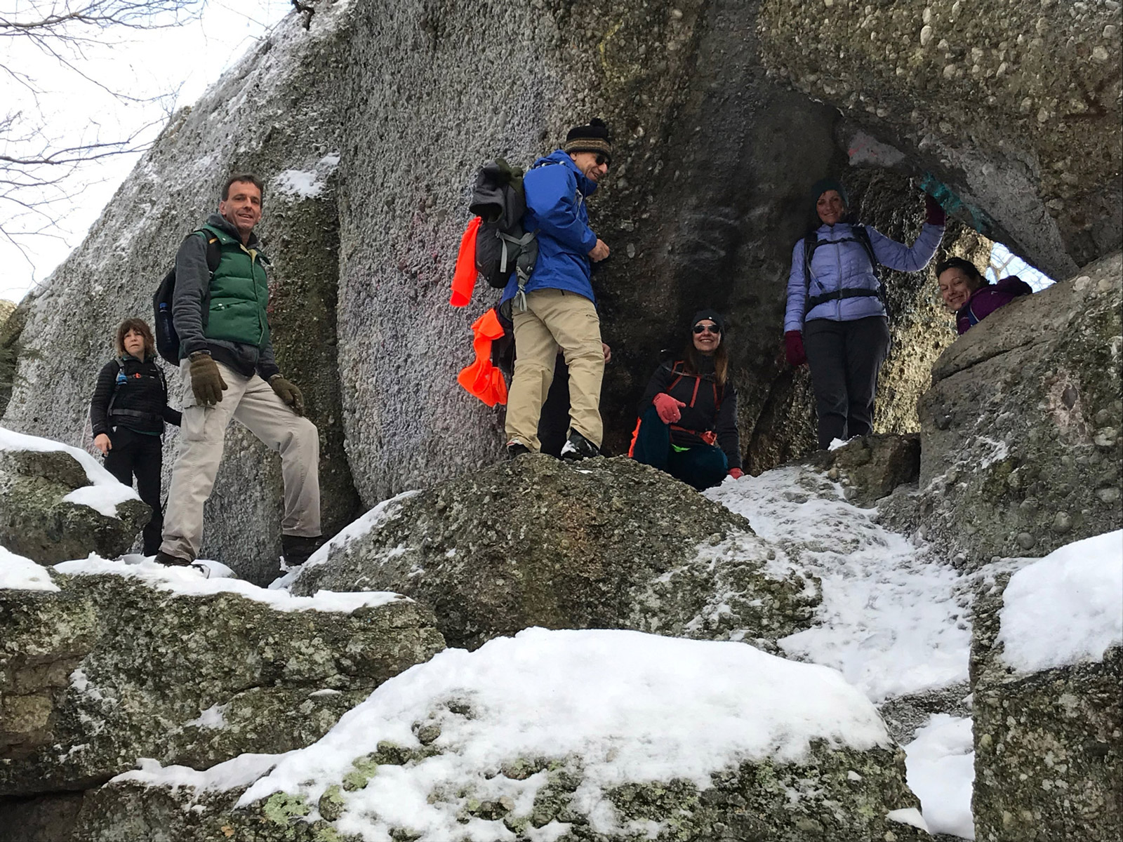 a group of hikers on boxcar rocks