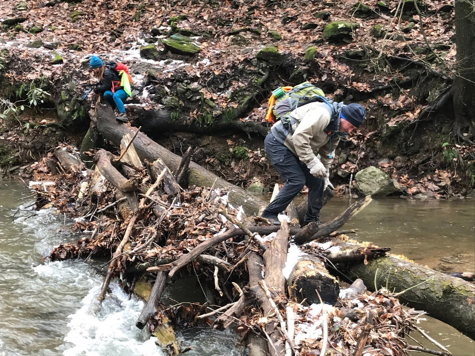 stream crossing on the Conestoga Trail